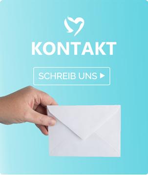 Nur positive Nachrichten Kontakt Banner mit einem Brief.