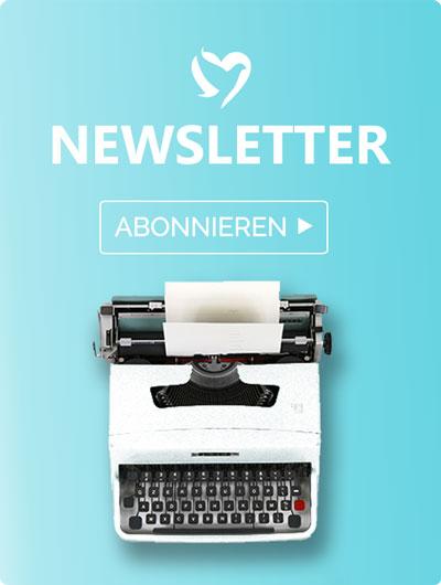 Nur positive Nachrichten Banner. Es ist eine alte Schreibmaschine abgebildet. Das Bild verweist auf unseren Newsletter.